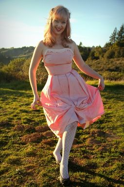 Custom Made Vintage 50s Emma Domb Pink Satin Strapless Bombshell Dress With Lace Trim S