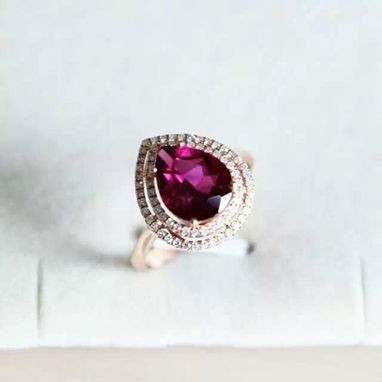 Custom Made 1.75 Carat Rhodolite Garnet Ring In 14k Rose Gold
