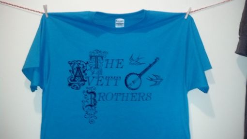 Custom Made The Avett Brothers Shirt, Men's Extra Large Blue Shirt With Black Writing, Ready To Ship