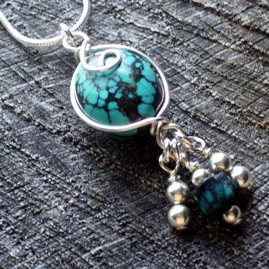 Custom Made Handmade Turquoise Gemstone Wire Wrapped Sterling Pendant Necklace