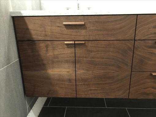 Custom Made Custom Floating Vanity With Grain Matched Fronts, In Black Walnut