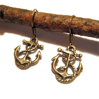 Custom Made Bronze Anchor And Rope Earrings