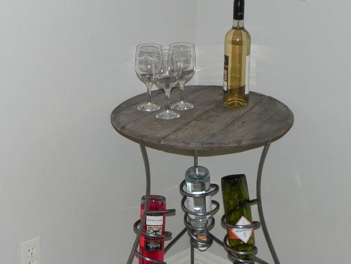 Custom Made Iron Wine Rack Serving Table With Distressed Wood Top