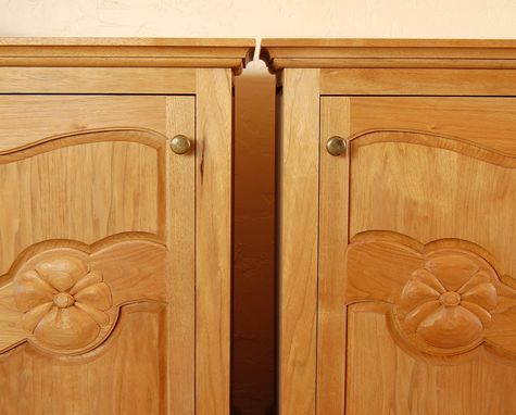Custom Made Butternut Armoire And Matching Sidetables