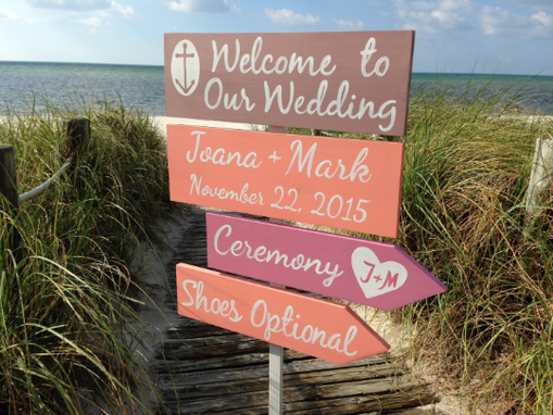 Custom Made Silver Welcome Wedding Sign, Shoes Optional Beach Ceremony Sign