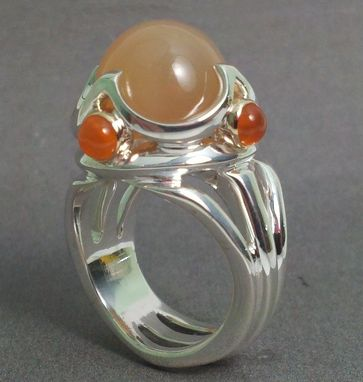 Custom Made Sterling Ring Set With Moonstone And Carnelian