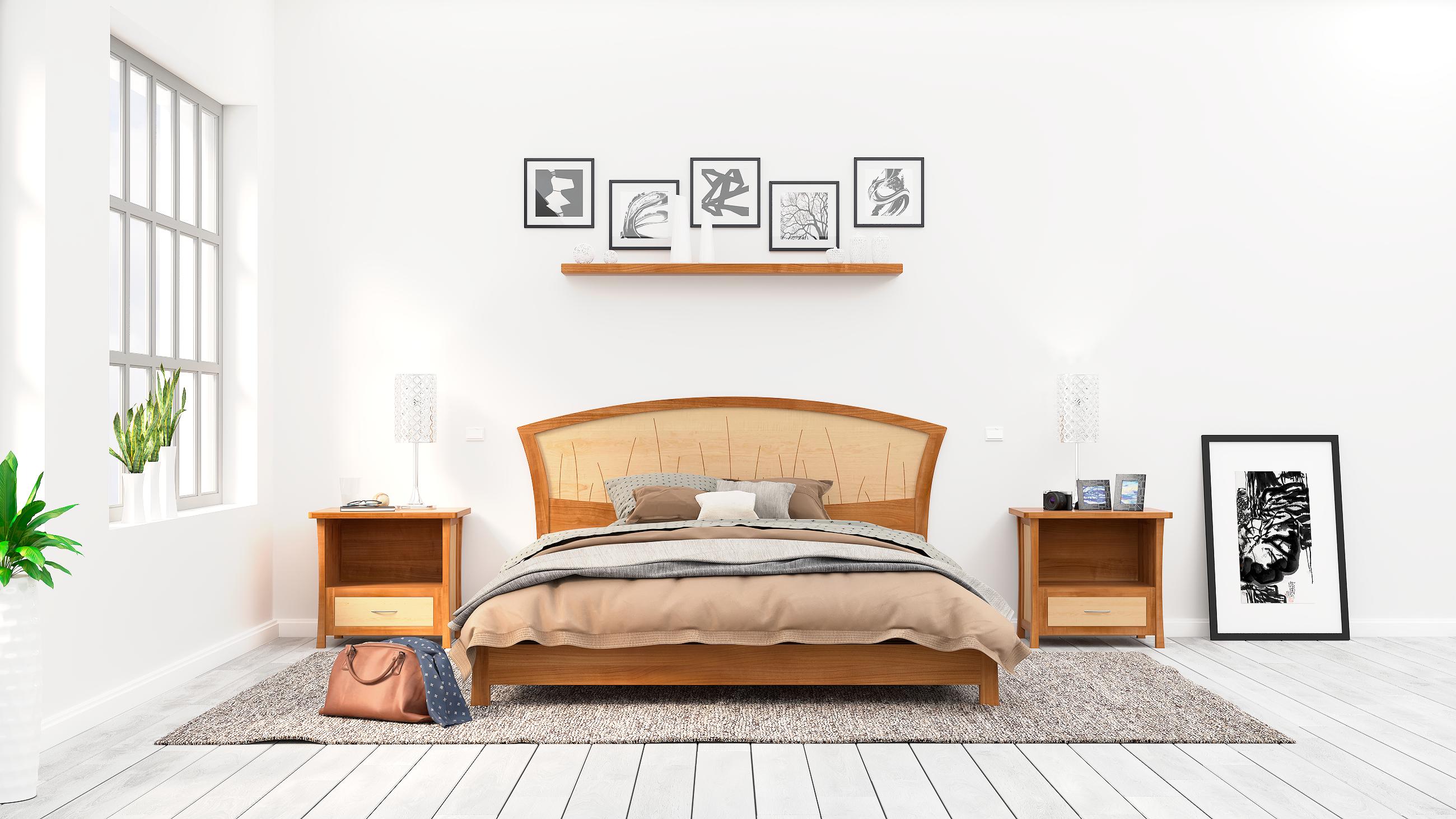Custom Made Modern Platform Bed Queen Size Low Bed Frame