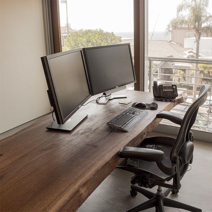 Custom Made Live Edge Black Walnut Slab Desk