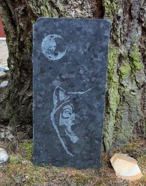 Custom Made Wolf And Moon Garden Art