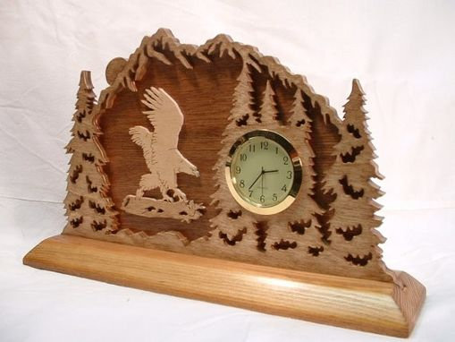 Custom Made Eagle Landing In The Forest 3-D Desk Clock