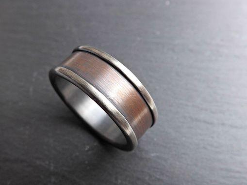 silver bronze ring for men unique mens wedding band or anniversary gift - Unique Mens Wedding Ring