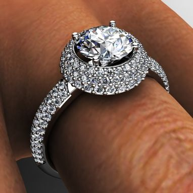 Custom Made Diamond Pave' Halo Engagement Ring