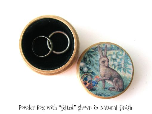Custom Made Rabbit In The Garden - Pill Box, Ring Box, Small Jewelry Box