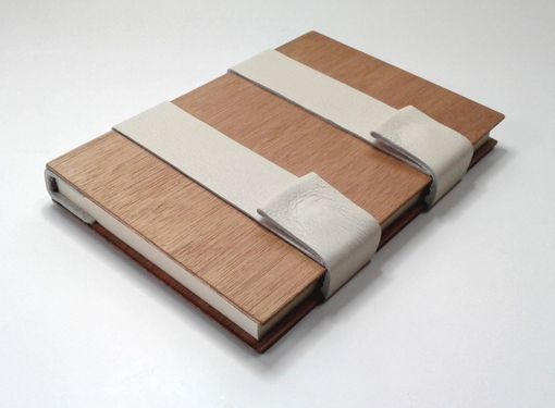 Custom Made Blank Book, Bound In Wood, White Leather, Cream-Color Lined Pages, Closes With Magnetic Snaps.