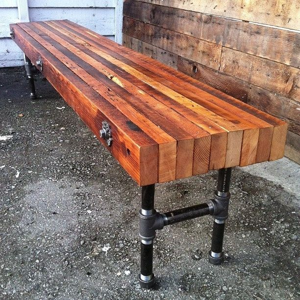 Industrial Style Steel Pipe Pine Wood Tables Desks A: Hand Crafted Reclaimed Wood Bench With Industrial Cast