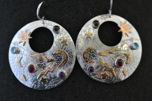 Custom Made Sterling Silver And 14k Gold Fill Earring, Hand Engraved