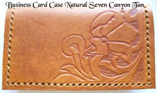 Custom Made Custom Leather Business Card Case With Natural 7 Design And In Canyon Tan Color