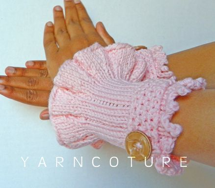 Custom Made Retro - Victorian Knit Cuffs / In Peony Pink W/ Faux Wood Buttons
