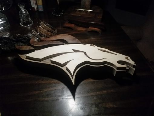 Custom Made Wood Denver Bronco Logo