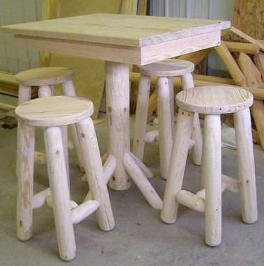 Custom Made Rustic Log Table & Stools
