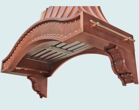 Custom Made Copper Range Hood With Corbels & Pot Rails