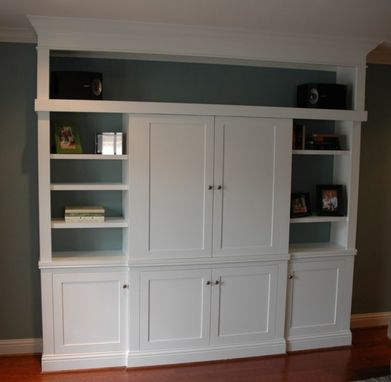 Custom Made Custom Entertainment Center With Sliding Doors