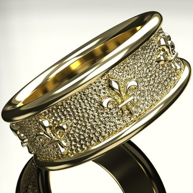 Custom Made Fleur De Lis Weddind Band Ring. Women Or Men. Gold Or Silver