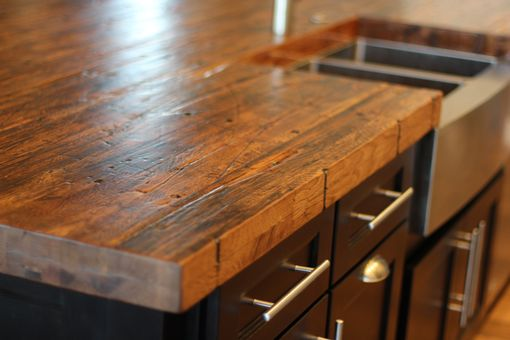 Custom Made Reclaimed Oak Butcher Block Island Top