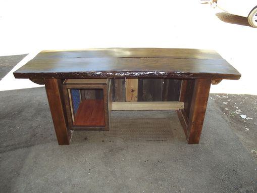 Custom Made Natural Edge Oak Slab Top Desk