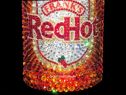 Custom Made Crystallized Frank's Red Hot Bottle Condiment Hot Wings Kitchen Bling Swarovski Crystals Bedazzled