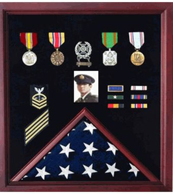 Custom Made Flag Photo Display Case With Badge Display Case