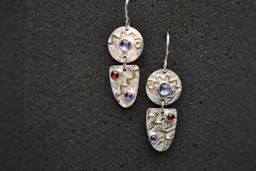 Custom Made Disc And Drop Sterling Silver And 14k Gold Fill Earrings