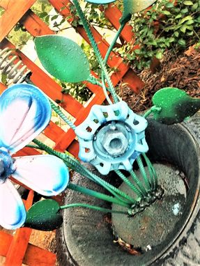 Custom Made Upcycled Metal Art Flowers Antique Iron Urn 1920s