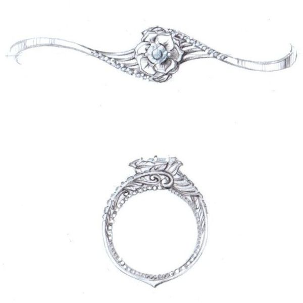 Sketch for a gorgeous, vintage-inspired ring with a rose petal diamond setting in a bypass shank.