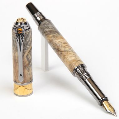 Custom Made Lanier Art Deco Fountain Pen - Buckeye Burl - Af6w20