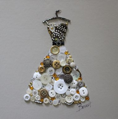 Custom Made White Gown Button And Beaded Dress
