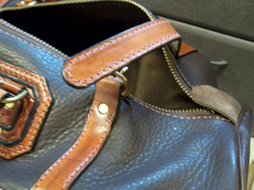 Custom Made Soft Leather Carry On / Duffel / Travel Bag In Dark Lincoln Gray