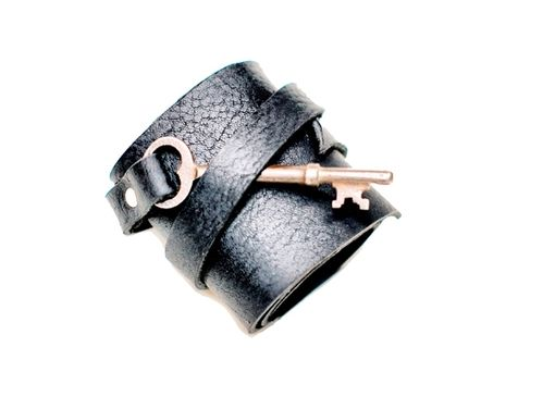 Custom Made Leather Cuff With Antique Skeleton Key