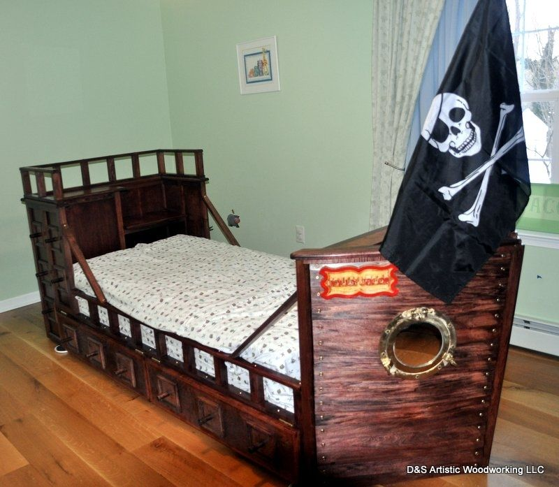 Custom Made Twin Size Pirate Ship Bed