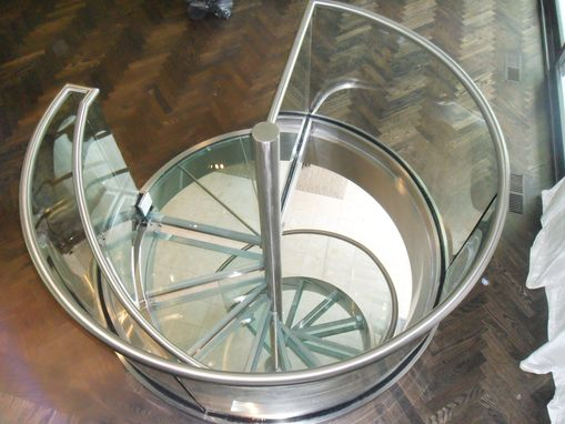 Custom Made Spiral Glass And Stainless Steel Stair