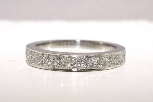 Custom Made Custom 18k Palladium White Gold Wedding Band With Two Rows Of Bead Set Diamonds