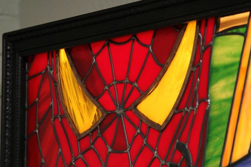 Handmade Spiderman Leaded Stained Glass Art Back Lit With Frame By Glass Art For The World