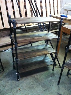 Custom Made Pair Of Reclaimed Oak And Industrial Cast Iron Pipe Shelves