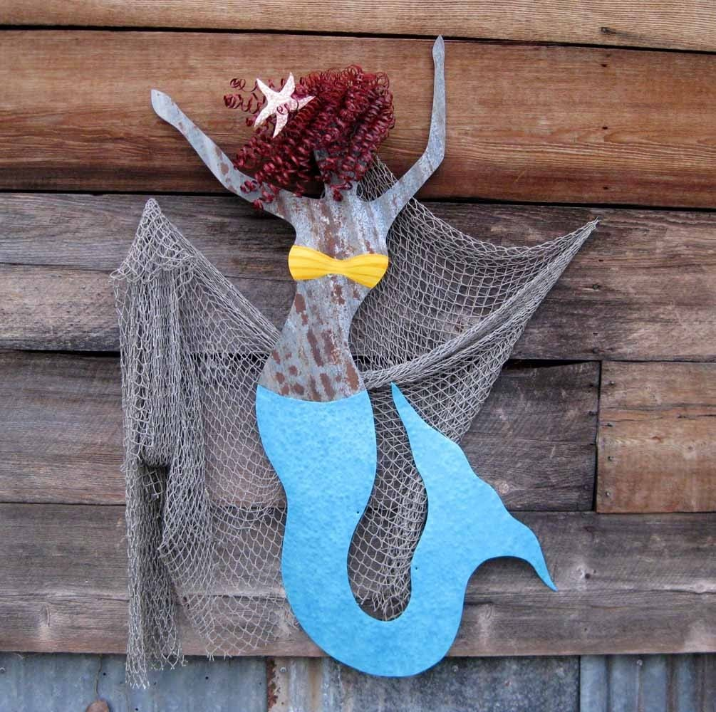 Mermaid Wall Art hand crafted handmade upcycled extra large metal mermaid wall art
