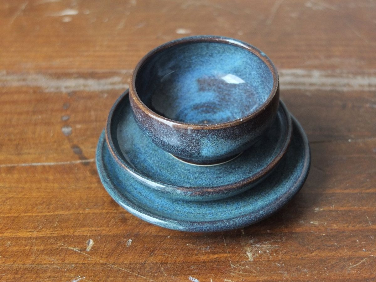 Hand Crafted 3 Prep Condiment Sauce Bowl And Plates Denim