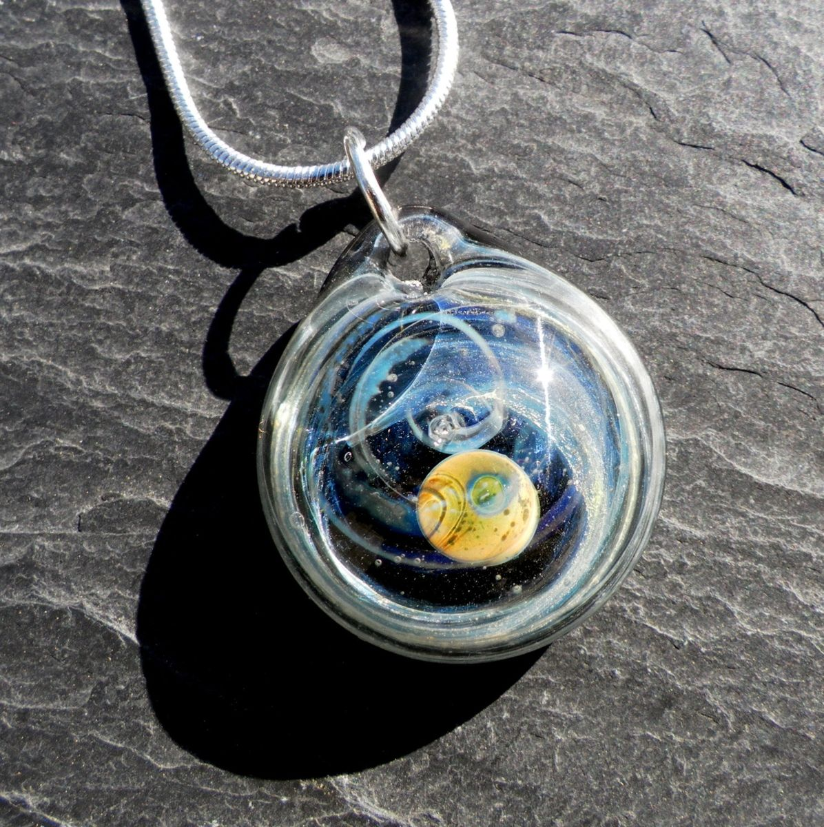 Custom hand blown round glass pendant with galaxy design by untamed custom made hand blown round glass pendant with galaxy design aloadofball Images