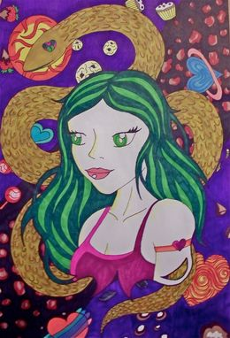 "Custom Made 16""X20"" Candy Snake Girl, Sharpie Poster, Original Artwork"