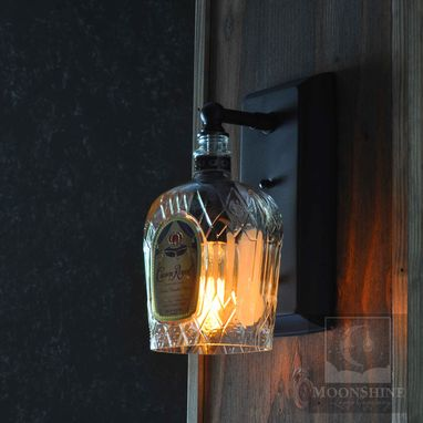 Custom Made Crown Royal Whiskey Recycled Glass Bottle Wall Sconce
