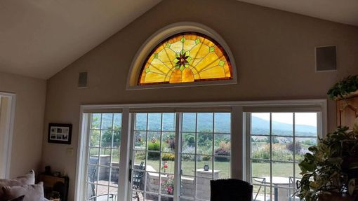 "Custom Made Stained Glass Arched Window - ""Central Flower"" (W-122)"