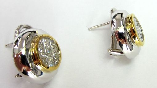 Custom Made 1.65ct Invisible Set 18k Gold Diamond Earrings